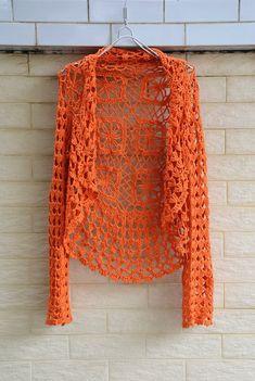 This item is unavailable Gilet Crochet, Crochet Cardigan Pattern, Crochet Blouse, Knit Crochet, Crochet Hats, Crochet Crop Top, Beautiful Crochet, Unique Crochet, Long Sleeve Crop Top