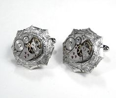 Steampunk Mens Watch Cufflinks  Vintage Jeweled by edmdesigns, $75.00