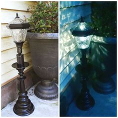 DIY solar lamp, just use an inexpensive solar stake light and an old lamp base, put them together, and tada! A great weighted outdoor solar lamp. Redo It Yourself Interiors Diy Solar, Solar Light Crafts, Solar Lamp, Patio Lighting, Landscape Lighting, Lighting Ideas, Outdoor Lamps, Solaire Diy, Solar Licht