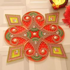 Rangoli Designs for Diwali: Buy Diwali Rangoli Online, Rangoli Stencils Diya Designs, Rangoli Designs Latest, Colorful Rangoli Designs, Rangoli Designs Diwali, Diwali Rangoli, Rangoli Designs Images, Beautiful Rangoli Designs, Diwali Craft, Diwali Gifts
