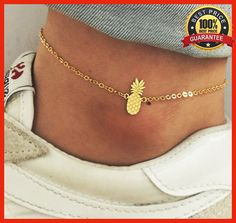Stainless Steel Gold Plated Chain Pineapple Anklets For Women, Women Jewelry