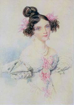 1828 П. Ф. Соколов. «Портрет Н. Л. Соллогуб». Акварель.