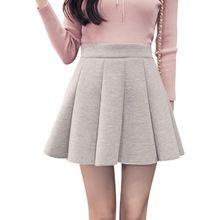 Mini Falda 2017 Otoño Nuevo Diseño de Moda de Alta Cintura Corta Mini Plisados Chicas Faldas 3 Colores()
