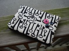 Medium Zippered Pouch in Antique Key Novelty Print Fabric by CharlotteandBettie, $12.50