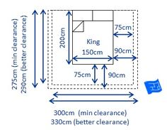 dimensions of a king bed 150 x 200cm w x land clearances required