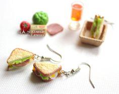 Boucle D'oreilles Sandwich Grappe Gourmand polymere argile bijoux gourmands couleurs