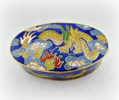 Vintage Small Brass Trinket Box, Cobalt Blue Chinese Cloisonne Enamel Trinket Box, Asian Chinese Dragon Art, 1960s Chinese Asian Home Decor by RedGarnetVintage, $45.00
