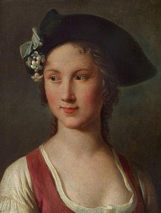 A young woman with a hat decorated with white flowers. Pietro Antonio Rotari (1707 - 1762)