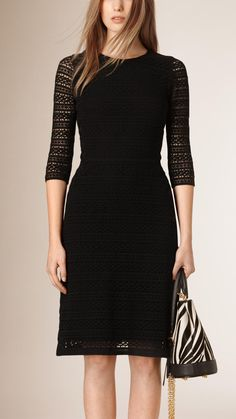 A neat shift dress in intricate English-woven lace. The fitted design is lined in silk at the body, while sleeves are kept sheer to highlight the detailing of the fabric. Dressy Dresses, Lovely Dresses, Wool Dress, Lace Dress, Burberry Shirt Women, Stylish Work Outfits, Fashion 2020, Designer Dresses, Fashion Dresses