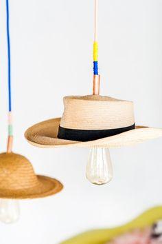 DIY Pendant Light with a Vintage Hat