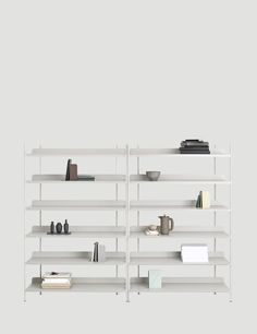 Compile is a minimal shelving system created by Copenhagen-based designer Cecilie Manz for Muuto.