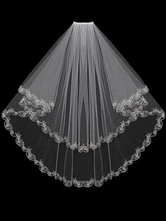 Simple Silver Embroidered Wedding Veil with Rhinestones 1T or 2T #wedding