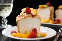 Gluten Free Angel Food Cake with Peach Sangria Sauce Recipe