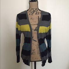 LB Cardigan This is a Lane Bryant cardigan size 18/20. It is black, grey, blue & yellow colors. In great condition. Lane Bryant Sweaters Cardigans