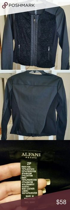 ALFANI MULTIMEDIA FAUX LEATHER MOTO JACKET Beautiful and classy! NWT! The perfect wardrobe staple, for work or play! Front is faux fur, sleeves and back are faux leather. Faux Fur: 73% acetate, 12% polyester, 8% nylon, 7% cotton. Knit: 79% polyester, 17% rayon, 4% spandex. Sleeve: non-leather lining 100% Polyester. Size: 2Petite. Color: black. No trades, offers welcome. Alfani Jackets & Coats