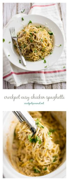 Crockpot Simple Chicken Spaghetti