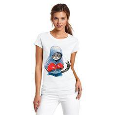 Boxing Cat cartoon T-shirt women's short sleeve