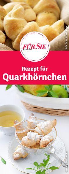 Rezept für Quarkhörnchen German Cake, No Bake Cake, Hamburger, Food And Drink, Sweets, Baking, Desserts, Donuts, Muffins
