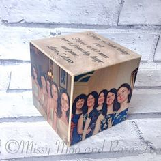 Stunning large personalised wood photo cube - the perfect way to keep those memories near by and beautifully displayed. With your favourite pictures on wood with personal message to create a lovely personalised photo gift and keepsake for every home.  Tired of having my favourite photos stashed away in an old box I created my own photo blocks to display them. I have increased the range of sizes and styles I now offer to breath life into all of your photographs. 🌟Product🌟 My handmade photo…