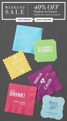Save 40% OFF custom printed cocktail napkins | Wedding Paper Divas Promo Coupon Code Napkin Sale