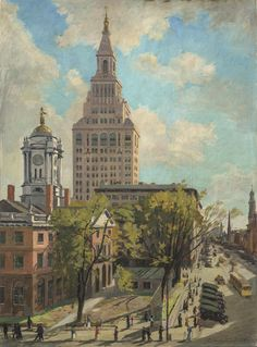 """The Traveler's Tower, Hartford,"" James Goodwin McManus, 1919, oil on canvas, 38 1/4 x 28 1/4"", Wadsworth Atheneum Collection."