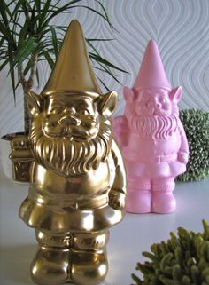 Gnomes in Gold and Pink by mahzerandvee on Etsy, $28.00