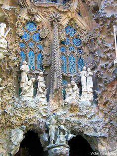 Fragment of Sagrada Familia by Antoni Gaudi. Barcelona, Spain.