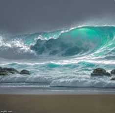 """Surging in the Wind"" by Hawaii seascape artist, Roy Tabora. Ocean Scenes, Beach Scenes, Ocean Pictures, Surfing Pictures, Waves Photography, Ocean Wallpaper, Wave Art, Beautiful Ocean, Seascape Paintings"