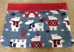 Winter Polar Bear Snuggle Sack Pet Cuddle Burrow Bag Travel Bed Cat Dog Reversible Washable Fleece 24 X 20