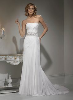 Colonne sans bretelles robe de mariée en mousseline de soie