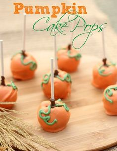 Pumpkin Cake Pops that would look cute scattered across the Thanksgiving table from Clever Housewife.