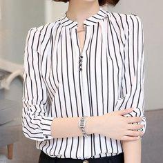 OZME Brand Women's Stripe Blouse 2017 Summer New Female Long-Sleeve Blouse Women Shirt Chiffon Ruffle Tops Camisa Renda Blusa