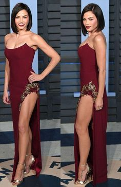 Unique Prom Dresses, Strapless Burgundy Prom Dress with Embroidery Split Long Evening Dress, There are long prom gowns and knee-length 2020 prom dresses in this collection that create an elegant and glamorous look Girls Formal Dresses, Elegant Dresses, Sexy Dresses, Prom Dresses, Fashion Dresses, Evening Party Gowns, Evening Dresses, Long Prom Gowns, Popular Dresses