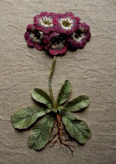 Auricula 3D botanical embroidered textile artwork by Corinne Young - www.corinneyoungtextiles.co.uk