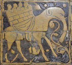 Dalle de pavement Saint-Omer, XIIIe siècle.  France / church / pavement / gothic / elephant / medieval