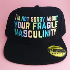 I'm Not Sorry About Your Fragile Masculinity Pastel Rainbow Snapback Cap - Feminist Cap - Feminism by fairycakes on Etsy https://www.etsy.com/listing/397963129/im-not-sorry-about-your-fragile