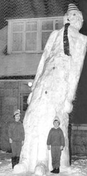 """This is a giant 17 ft snowman built by some lads in Aberdeen, Scotland during the """"great freeze"""" in 1963."""