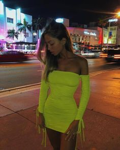 8e8e303f9ea Cosma Neon Dress. Cosma Ruched Long Sleeve Neon Green ...