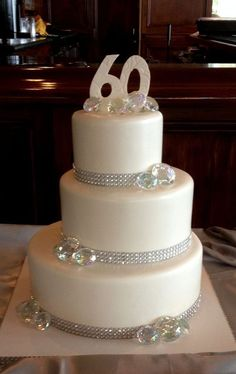 60th Wedding anniversary cake with a little bling.