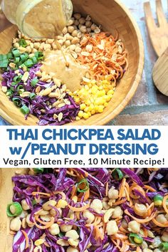 Lunch Recipes, Whole Food Recipes, Salad Recipes, Cooking Recipes, Simple Vegetarian Meals, Vegetarian Cabbage Recipes, Healthy Vegan Meals, Healthy Recipes, Vegan Lunches