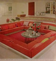 """From House & Garden's Complete Guide to Interior Decoration 1960 - """"Warm color kindles a conversation pool, the new slant on seating, suggesting the intimacy of the fireside. Designed by Alexander Girard."""""""