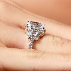 New Huge 12mm Cushion Cut CZ Sterling #Wedding Ring Women's #Engagement 5 6 7 8 9 | eBay $120.00