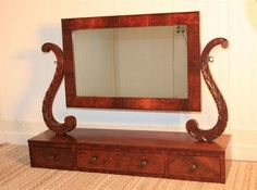 LARGE Antique 1800's Flamed Mahogany Carved Shaving Stand Vanity Mirror Cheval