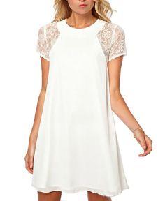 Lace Shoulder Swing Dress