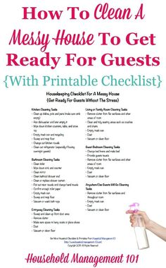 Housekeeping Checklist For A Messy House: Get Ready For Guests Without Stress {Includes Free Printable} How to clean a messy house to get ready for guests, including free printable housekeeping checklist, courtesy of Household Management 101