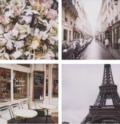 Pictures of Paris, Eiffel Tower, Cafe, Flowers