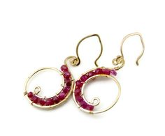 Red quartz and 14k gold filled earrings - red earrings - artisan earrings - dangle earrings via Etsy