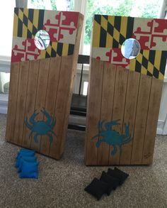 Maryland cornhole boards. Custom and hand painted.