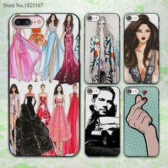 fashion illustration sexy girly design hard black Case Cover for Apple iPhone 7 6 6s Plus SE 5 5s 5c 4 4s
