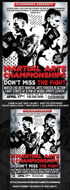 """Martial Arts Championship Sports Flyer Description :4x6"""" with bleedPrint Ready ( CMYK, 300DPI ) Easy to edit and fully customizable All elements is included Organised and Detailed Layers All text are editable Font :BigNoodleTitling : https://www.myfonts.com/fo"""